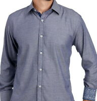 English Laundry Long Sleeve Shirt XXL Black & Navy Diamond Pattern Stretch NWT