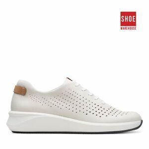 Clarks UN RIO TIE White Womens Sneaker Casual Nubuck Sneakers