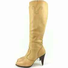 Vtg Buskens Womens Us 8.5M Light Tan Beige Leather Knee-High 4 in Boots, Brazil