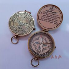 Antique Brass Compass Vintage Marine Collectible Item