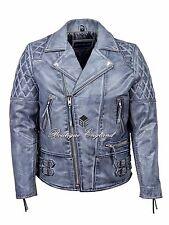 "Men's Biker Jacket Grey ""RECKLESS"" CLASSIC BIKER STYLE HIDE LEATHER 233"