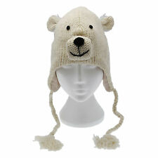 Fun Polar Bear Handmade Winter Woollen Animal Hat Fleece Lining One Size, UNISEX