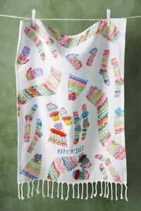 Anthropologie Warm Wishes Embroidered Dish Towel