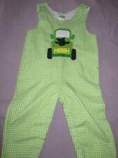 euc Potato Saks green check long tractor applique romper baby boy 24 m free ship