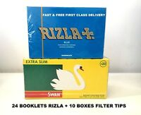 1200 RIZLA BLUE ROLLING PAPERS & 1200 SWAN EXTRA SLIM FILTER TIPS ORIGINAL