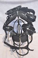 BLACK NYLON DRIVING HARNESS FOR SINGLE HORSE with diamonte browband in bridle