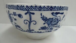FLOW BLUE WHITE CHINA CERAMIC POTTERY BOWL HAND PAINTED MADE IN ENGLAND