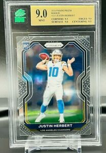 MNT GRADED 9 Prizm Rookie Justin Herbert Los Angeles Chargers RC