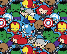 FAT QUARTER MARVEL KAWAII ALL IN THE PACK AVENGERS SUPERHEROS 100% COTTON FABRIC