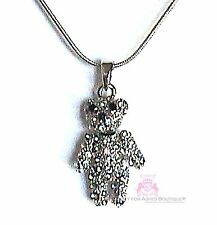 Girls Teddy Bear Necklace Clear Crystals Moveable Parts Cute Fun Gift Pendant