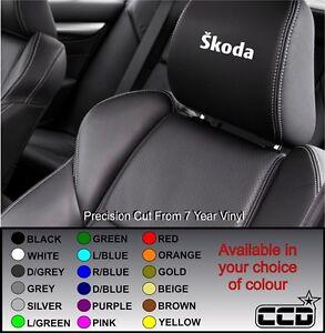 SKODA CAR SEAT / HEADREST DECALS SKODA BADGE LOGO Vinyl Stickers -Graphics X5