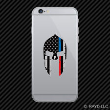 Tattered Red / Blue Line Subdued Spartan Helmet American Cell Phone Sticker