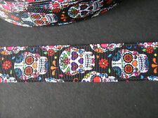 Black Sugar Skull Grosgrain Ribbon 2.2cm  x 1 Metre  Sewing/Costume/Crafts/Cake
