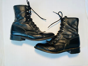 Justin 0506 6 C Black Leather Kiltie Lace Up Boots Hipster Steampunk Hobo USA