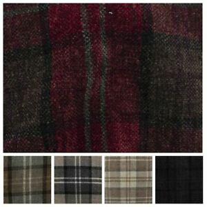 Heavy Weight Check Tartan Plaid Chenille Thick Strong Upholstery Fabric