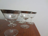 6 VINTAGE PLATINUM ROSE RIM OPTIC TIFFIN CRYSTAL SHERBET OR WINE GLASSES