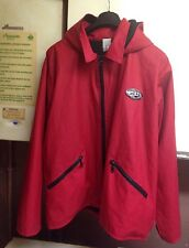 Ladies Red French Hooded Raincoat With Warm Fleece Lining Size L