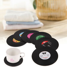 Gifts Set of 6 Drinks Retro Vinyl Coffee Drinking Coasters Cup Placement Mat Pad