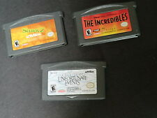Lot 3 Gameboy Advanced video games shrek 2 incredibles series Unfortunate events