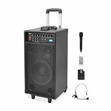 Pyle 800W Portable PA Speaker System Handheld Lavalier Mics USB/SD AUX iPod Dock