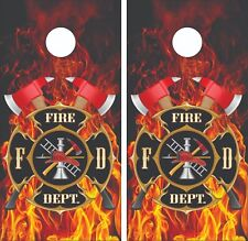 Fire Fighter Department Cornhole Board Skin Wrap Decal SET -LAMINATED
