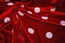 1M RED/WHITE SPOT Velour Fabric Material Patchwork Crafts Quilting Sewing