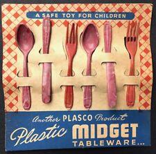 Charming 1950s Midget Plastic Tableware Toy on Original Display Card
