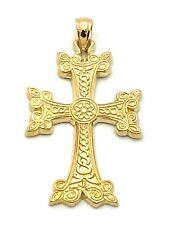 14k Yellow Gold Crucifix Christian Cross Pendant Religious Charm 6 grams