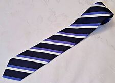 GENTS VINTAGE AUTHENTIC INVIDIAUOMO STRIPED BLACK WHITE BLUE SILK MEN'S NECK TIE