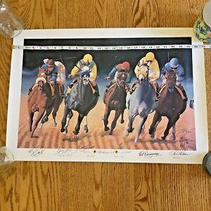 Nick Martinez Ltd Ed. Preakness 122 45/500 Signed by 5 Jockeys & Artist