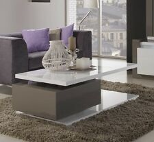 New Stunning Ravio Coffee Table High Gloss Taupe And Grey