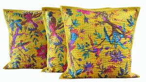 Indian Cotton Set-3 Bird Paradise Ethnic Kantha Cushion Cover Throw Pillow Cover