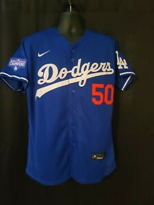 Mookie Betts #50 Los Angeles Dodgers 2020 World Series Champions Jersey Blue