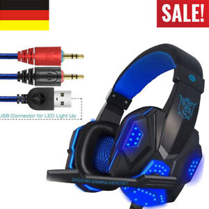 Gaming Headset Kopfhörer 3.5mm LED Mikrofon für PC Laptop PS4 Xbox One DE