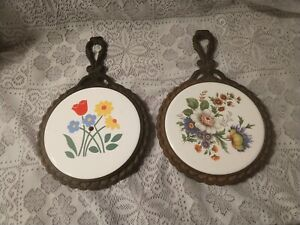 """Lot of 2 Vintage Trivet Cast Iron and Tile Made In Japan Floral Wall Art 7"""""""