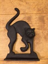 "Black Cat Door Stop Cast Iron 12"" tall by 7"" Home Door Decor 0170-14509"