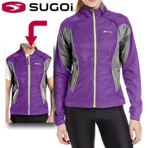 Sugoi Versa Convertible Womens Cycling Jacket Removable Sleeves - Purple Small