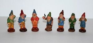 Antique Putz 7 German Gnome Elf Germany Composition Figures vintage circa 1900
