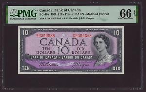 Canada 🇨🇦1954 - $10 Dollars Beatie Coyne - PMG Gem UNC 66 EPQ **HIGH GRADE**