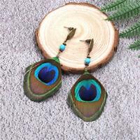 Ethnic Boho Natural Peacock Feather Dangle Earrings Beautiful Jewelry J