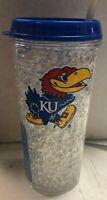 University of Kansas Jayhawks 16 OZ Freezer Travel Tumbler Mug with Straw