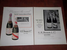 9 1934-1954 CHAMPAGNE ADS G.H. MUMM PIPER-HEIDSIECK M 33 CLICQUOT GOLD SEAL +