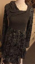 Hazel Knitted Floral Blue Grey Boho Hippy Lagenlook Dress Size XS