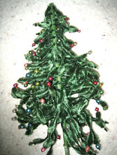Vintage Christmas Tree Chenille W/Colored Mercury Glass Beads - Crafts