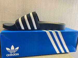 Adidas Men's Adilette 288022 Sandals Slides Slip-On Navy White Size 12