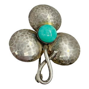 DinkelsbUhl Vintage .925 Silver Blue Green Stone 3 Leaf Clover Shape Pin Brooch