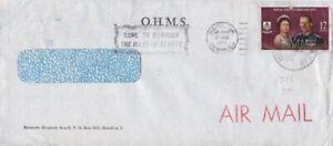 Bermuda -1975 - 17c Royal Visit O.H.M.S. Air Mail Cover - Bermuda Hospital Board