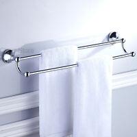 Chrome EURO Towel Rack Double Bar Wall Mount Bathroom Towel Rail Hanger Shelf