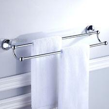 Chrome Brass Towel Holder Double Bar Wall Mount Bathroom Towel Rail Hanger Shelf