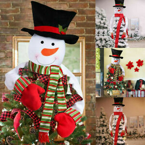Christmas Tree Top Topper Cover Snowman Hat Xmas Tree Ornaments Home Party Decor